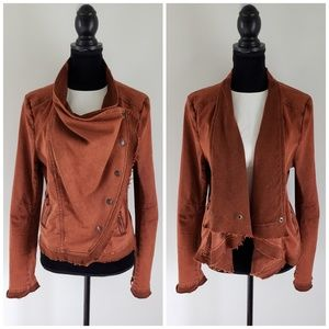 Free People Raw Edge Asymmetrical Henna Blazer